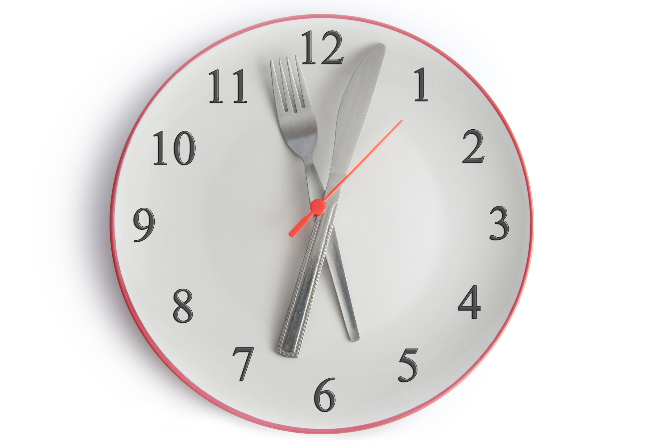 Clock with fork and knife as hour and minute hands
