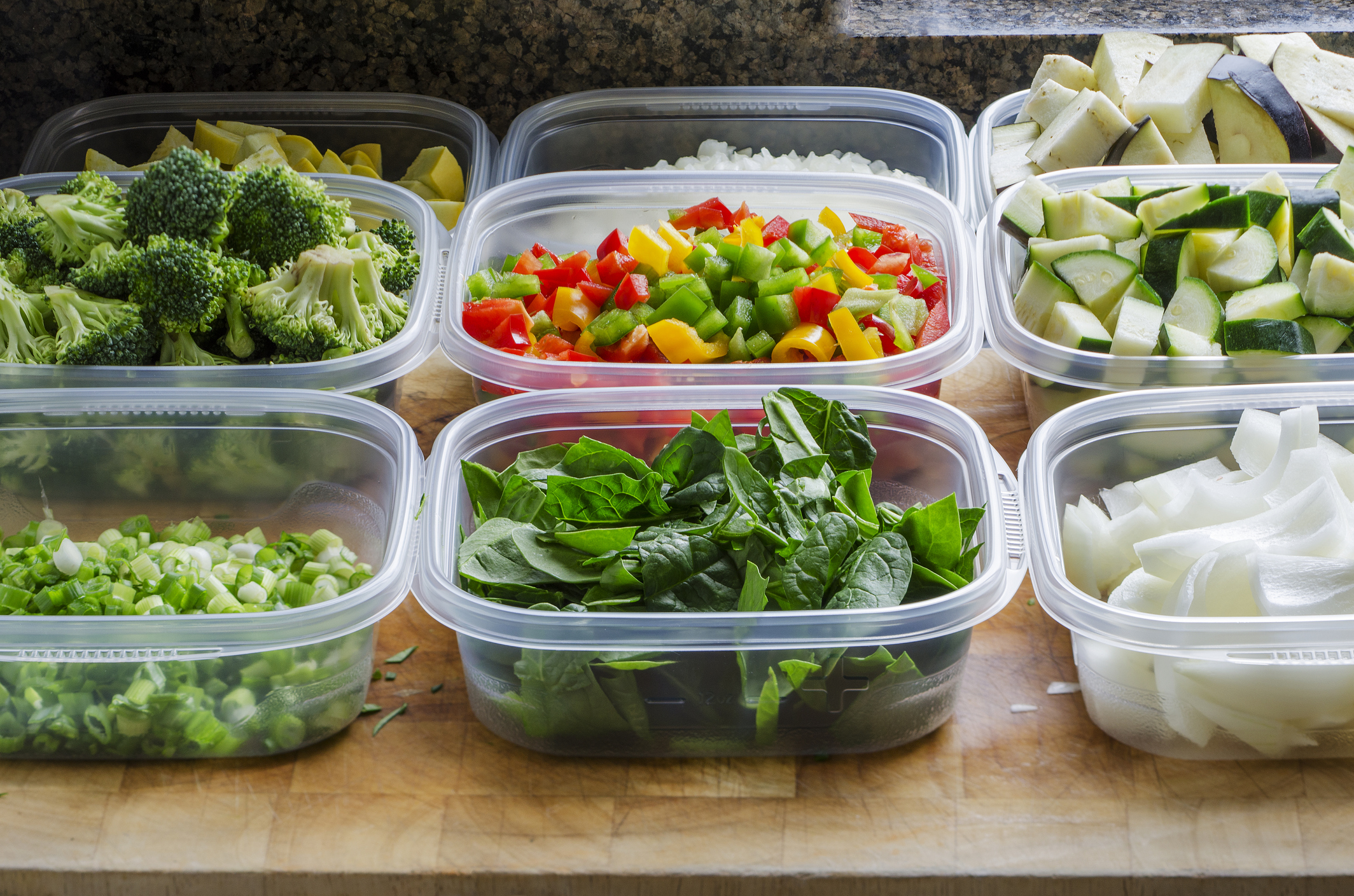 Food in plastic containers for meal prep